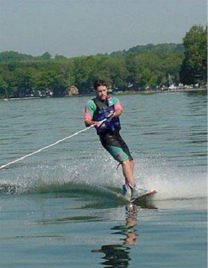 Mr. Chubb waterskiing