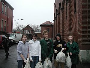 Akron Students on Health and Wellness Day - Cleaning up St. Lukes Mission of Mercy Buffalo,NY