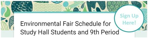 Sign up button for environmental Fair