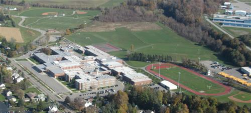 Aerial photo of school & athletic grounds