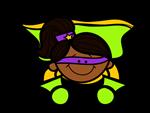 Flying girl lime superhero